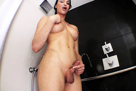 Jonelle shower enema. Jonelle does an enema & pees