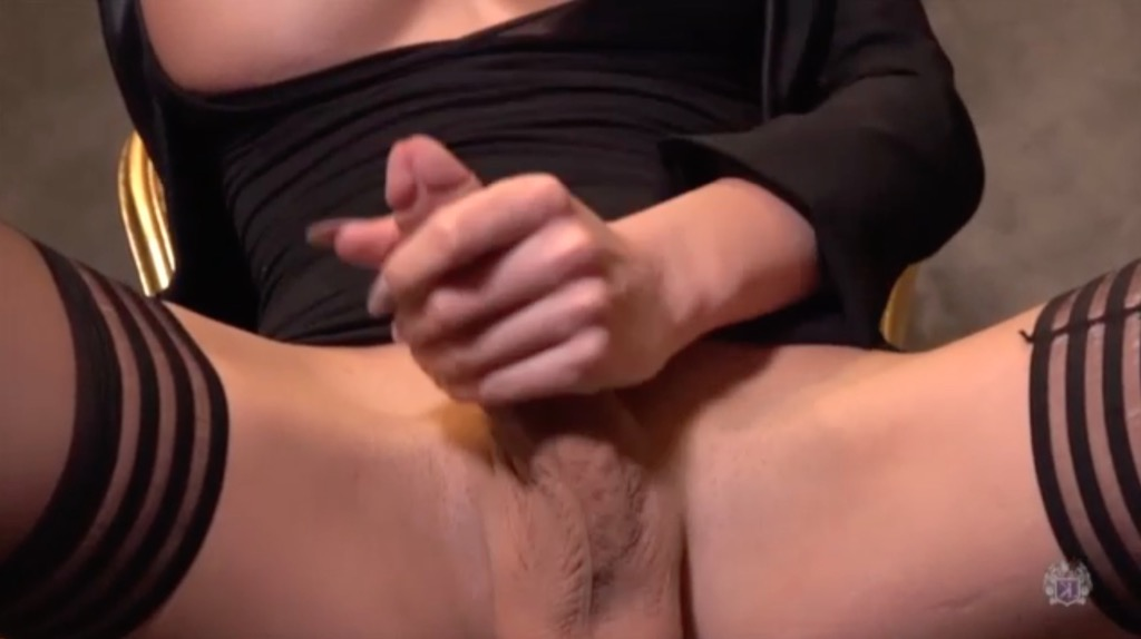 Kimberlee reveals her thick penish under her charming black