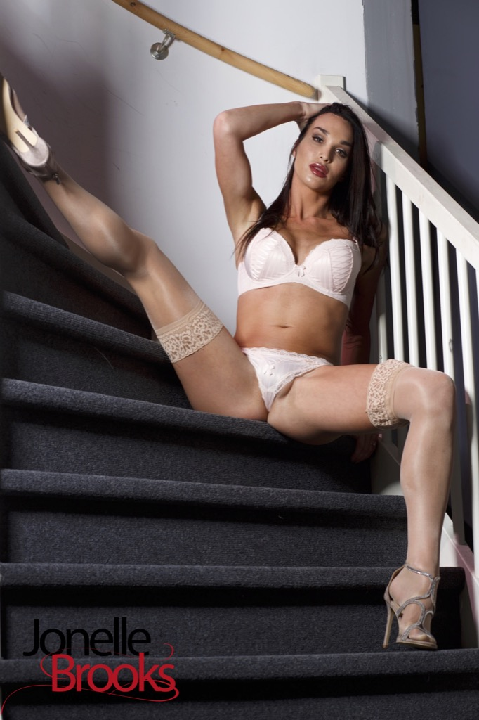 Jonelle is super excited in the stairs she takes off her clothes