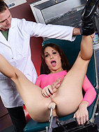 The doctor s special therapy. Jonelle testing a make love machine at doctor's
